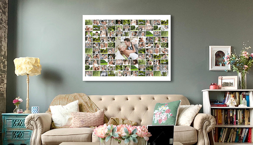100 bilder collage ueber couch