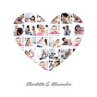 Fotocollage mit Babybildern und Herzform