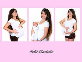 Schwangerschaftscollage aus 3 Fotos mit Text
