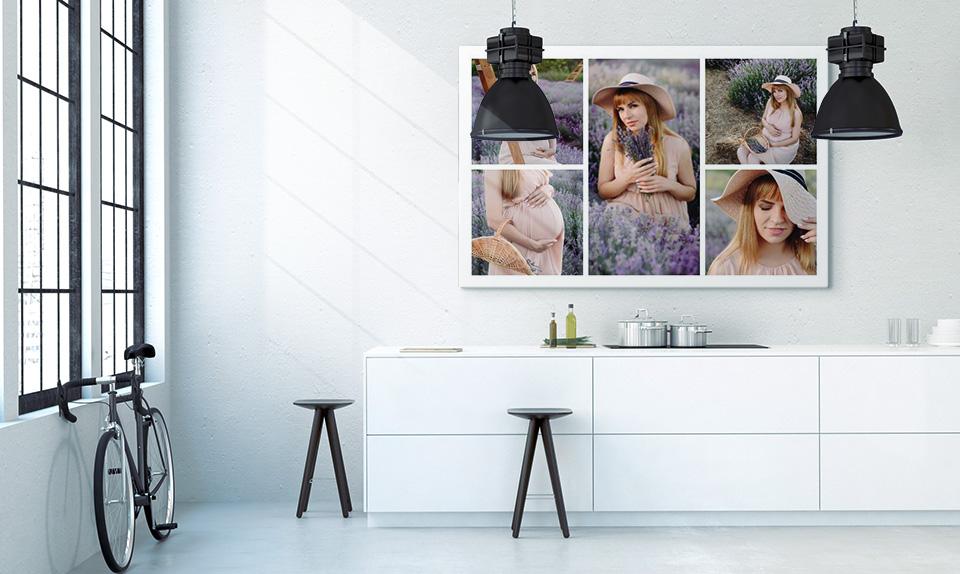 Babybauch Collage auf Leinwand gedruckt