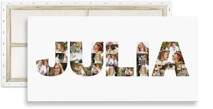 Buchstaben Fotocollage auf Leinwand