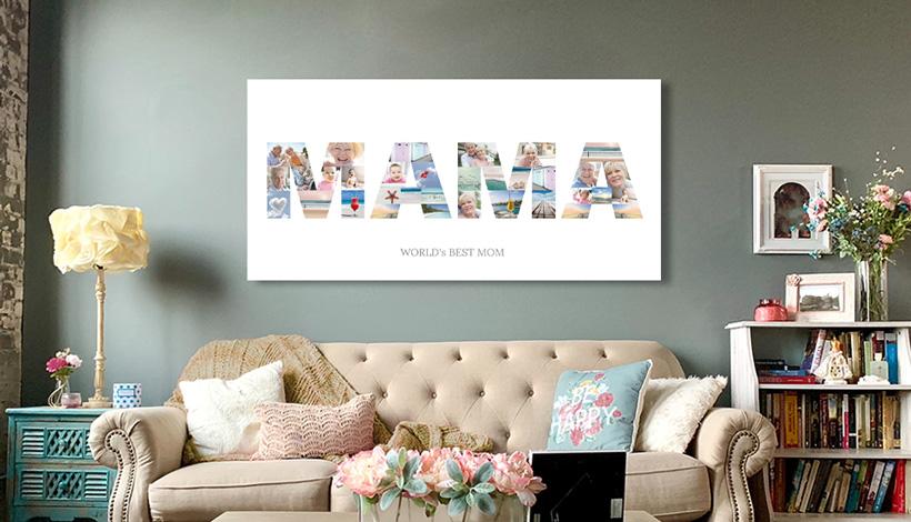 buchstaben collage ueber couch