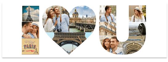 Buchstaben Collage mit Herz