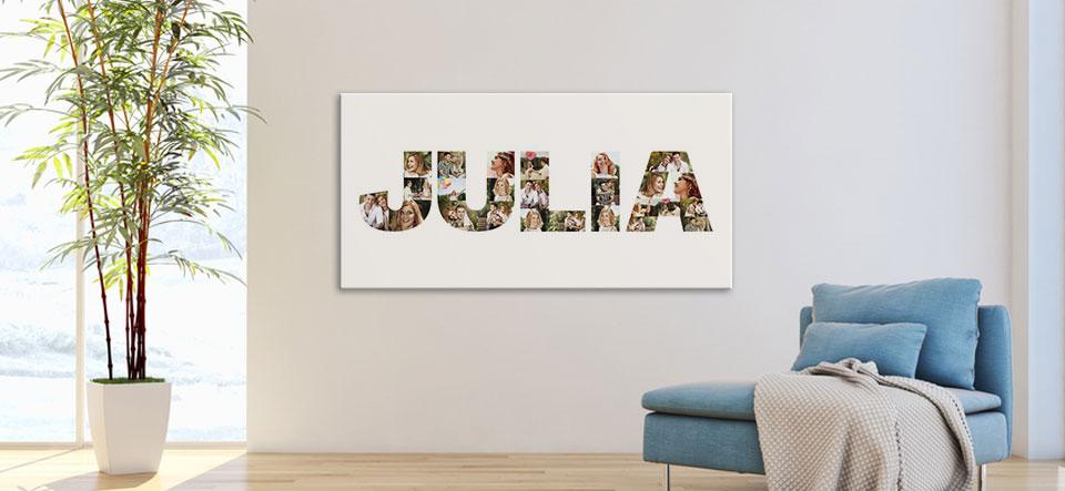 Buchstaben Collage auf Leinwand aufgehängt