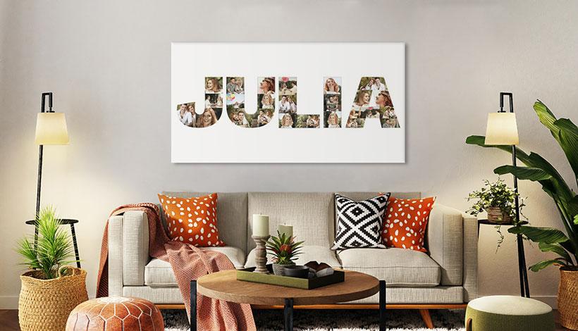 buchstaben collage wohnzimmer