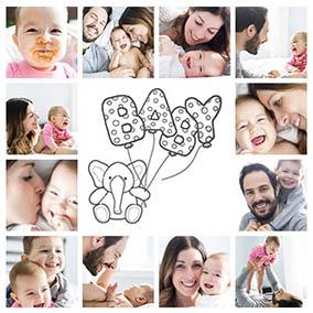 Fotocollage Baby mit 12 Bildern