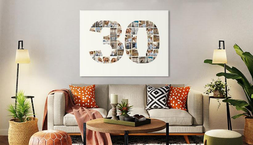 collage zahlen in wohnzimmer