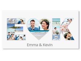 Collage zur Hochzeit mit Herz und Initialen