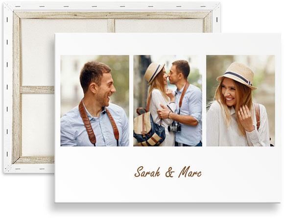 Fotocollage mit 3 Bildern und Text auf Leinwand