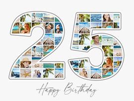 Fotocollage zum 25. Geburtstag mit vielen Bildern und Text