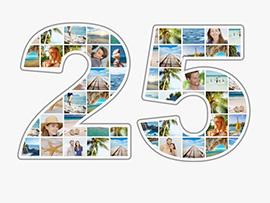 Fotocollage zum 25. Geburtstag mit vielen Bildern