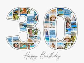 Fotocollage zum 30. Geburtstag mit vielen Bildern und Text