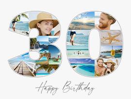 Fotocollage zum 30. Geburtstag mit Text