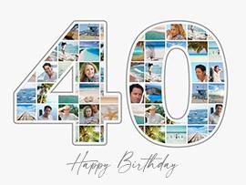 Fotocollage zum 40. Geburtstag mit vielen Bildern und Text