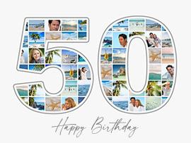 Fotocollage zum 50. Geburtstag mit vielen Bildern und Text