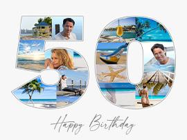 Fotocollage zum 50. Geburtstag mit Text