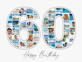 Fotocollage zum 60. Geburtstag mit vielen Bildern und Text