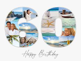 Fotocollage zum 60. Geburtstag mit Text