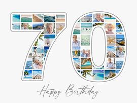 Fotocollage zum 70. Geburtstag mit vielen Bildern und Text
