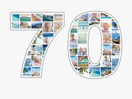 Fotocollage zum 70. Geburtstag mit vielen Bildern