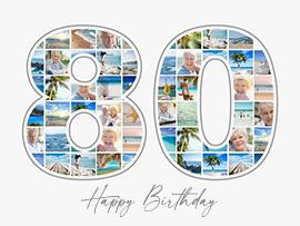 Fotocollage zum 80. Geburtstag mit vielen Bildern und Text