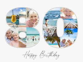 Fotocollage zum 80. Geburtstag mit Text