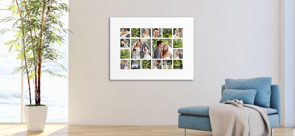 Mit App erstellte Fotocollage an Wand aufgehängt