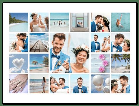 Hochzeitscollage mit vielen Bildern