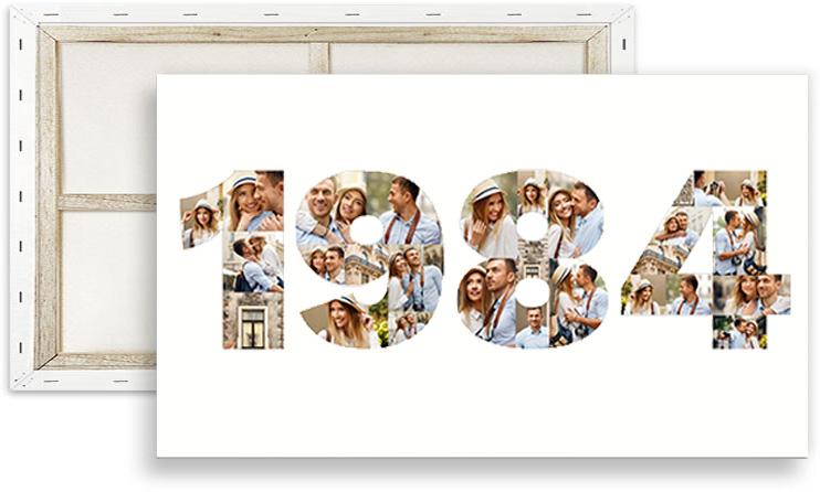 Collage auf Leinwand mit Jahreszahl