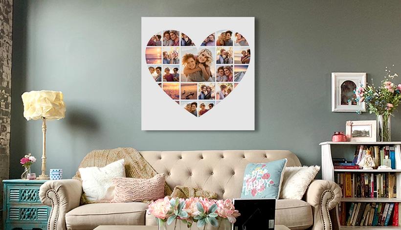 liebes collage in wohnzimmer