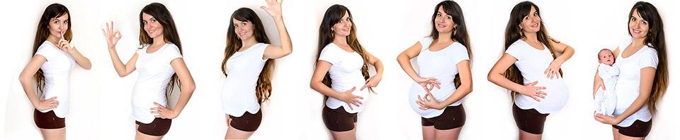 Collage aus Fotos im Schwangerschaftsverlauf - Best of 9 Monate