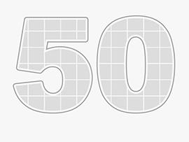 Collage Zahl 50 als Vorlage mit vielen Bildern
