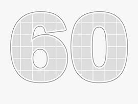 Collage Zahl 60 als Vorlage mit vielen Bildern